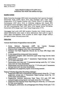 Fakta Dibalik Predikat WTP LKPP 2016