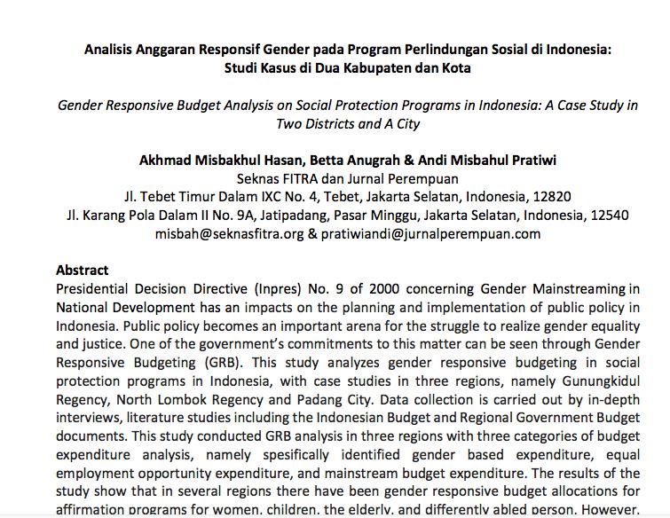 Analisis Anggaran Responsif Gender pada Program Perlindungan Sosial di Indonesia:  Studi Kasus di Dua Kabupaten dan Kota